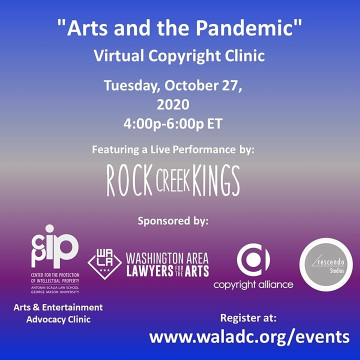 "WALA/GMU ""Arts and the Pandemic"" Virtual Clinic w/ Rock Creek Kings image"