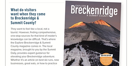 Last Call to Get on the Winter Map! - Explore Breckenridge Visitors Guide tickets