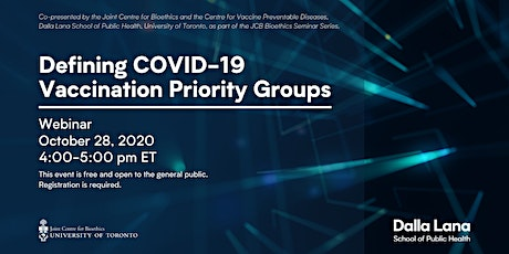 Defining COVID-19 Vaccination Priority Groups tickets