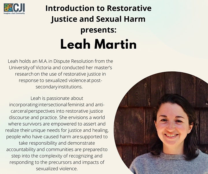 Restorative Justice Responses to Sexual Harm:  4 Day Workshop Series image