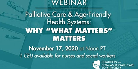 WEBINAR: Palliative Care & Age-Friendly  Health Systems tickets