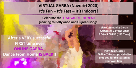 VIRTUAL NAVRATRI GARBA FESTIVAL (INDIAN DANCE)- 24 October 2020 tickets