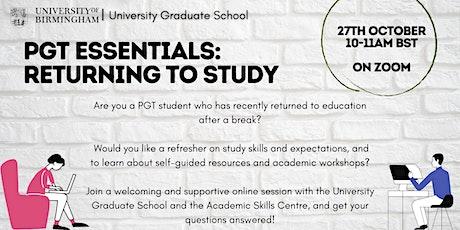 PGT Essentials: Returning to Study tickets