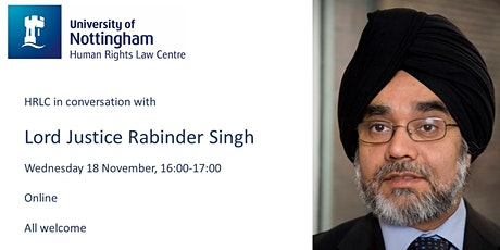 HRLC in conversation with Lord Justice Rabinder Singh tickets