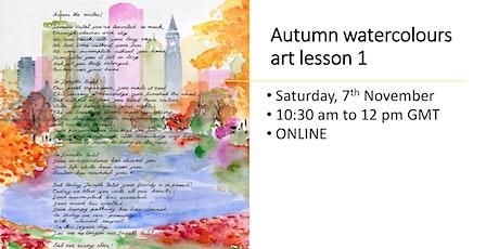 Autumn watercolours art lesson online tickets
