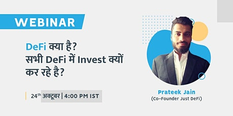 DeFi Decentralized Finance Live Webinar in India tickets