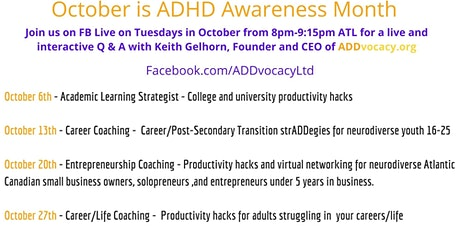 ADDvocacy ADHD Awareness Month - Facebook Lives tickets