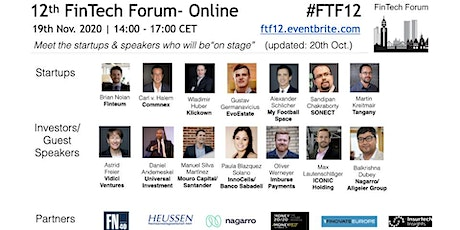 12th FinTech Forum- Online | 19th Nov. 2020 Tickets
