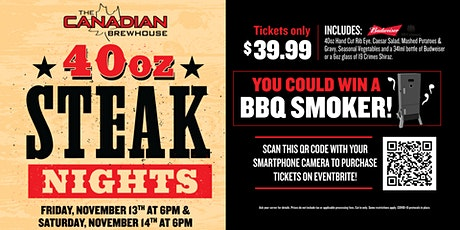 40oz Steak Night (St. Albert Jensen Lakes) - Saturday tickets