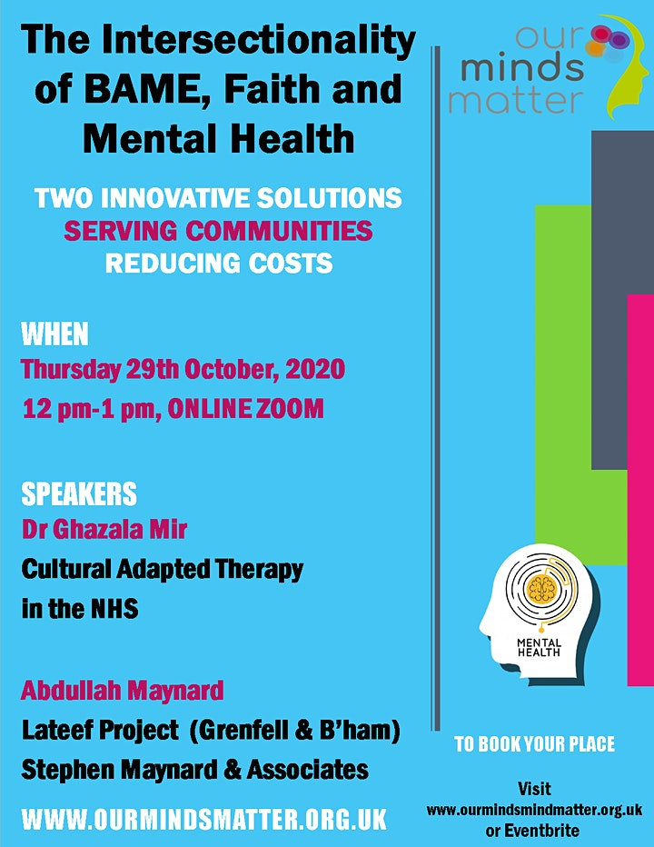 Intersectionality of BAME, Faith and Mental Health Webinar image
