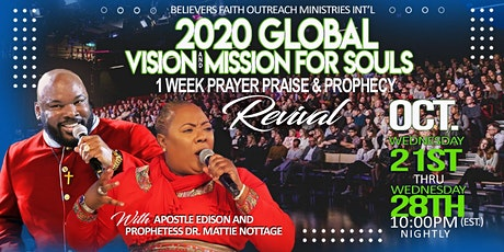FREE ONLINE ZOOM EVENT!!  2020 GLOBAL VISION & MISSION FOR SOULS WEEK!! tickets