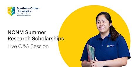 Summer Research Scholarships Q&A Webinar tickets