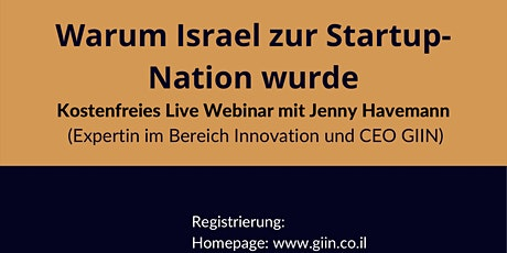 Warum Israel zur Startup-Nation wurde - Wie können Sie davon profitieren? Tickets