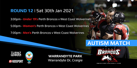 Round 12 Autism Awareness Match - Perth Broncos v West Coast Wolverines tickets