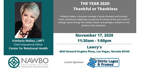 NAWBO SNV - THE YEAR 2020: Thankful or Thankless with Kimberly Malloy tickets