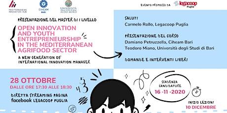 Presentazione Master di I liv. OPEN INNOVATION AND YOUTH ENTREPRENEURSHIP biglietti