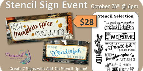 Peacock Wine Bar - Stencil Sign Event tickets