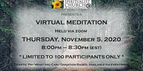 SCNYC Virtual Meditation November  5, 2020 led by Rev. Terence Harding tickets