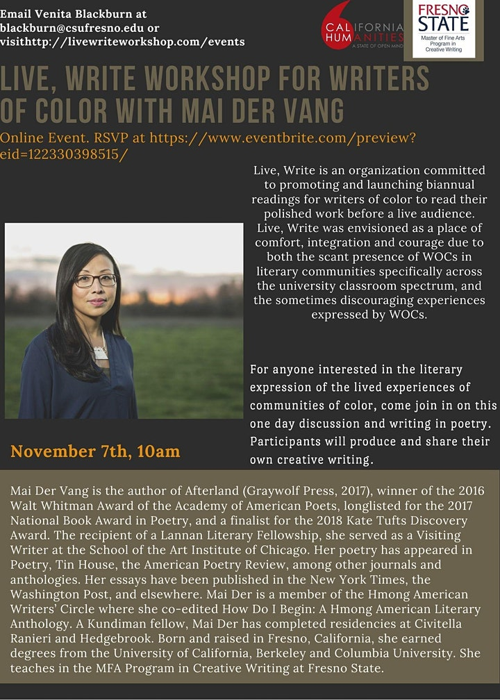 Live, Write Workshop for Writers of Color with Poet Mai Der Vang image