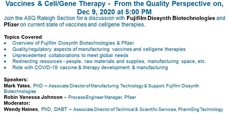 Vaccines & Cell/Gene Therapy - From the Quality Perspective