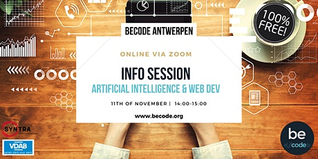 ONLINE info session BeCode Antwerp - Web.Dev | A.I. tickets