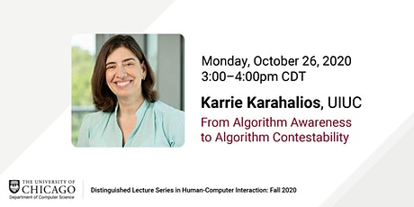 Karrie Karahalios - From Algorithm Awareness to Algorithm Contestability tickets