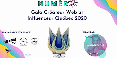 Gala Créateur Web et Influenceur Québec 2020 billets