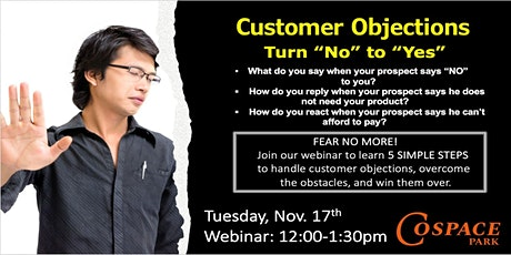 Customer Objections - Convert NO to YES in Your Sales! (ONLINE EVENT) tickets