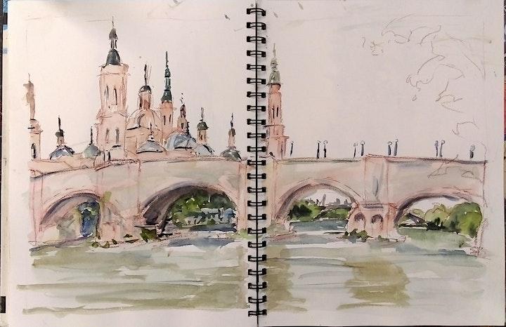 Travel Sketchbook Pen & Wash with Roslyn Hartwig (Wed morn. 8 Week Course) image