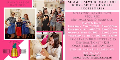 Sewing Boutique Camp for Kids – Skirt plus matching Hair Scrunchie! tickets