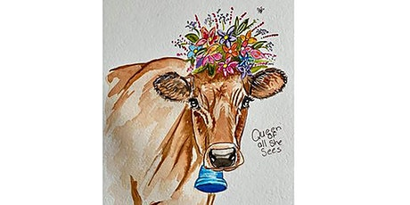 Watercolour class - Queen of all she sees (live online painting class) tickets