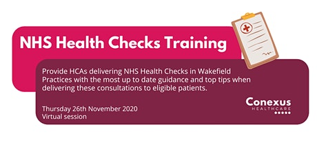 NHS Health Checks  - Training for HCA's tickets