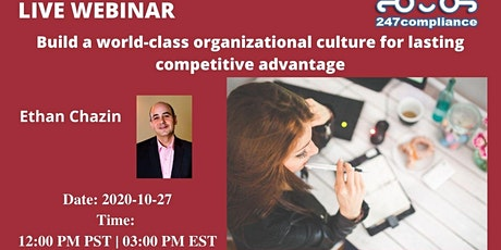 Build a world-class organizational culture for lasting competitive advantag tickets