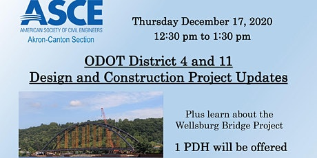ASCE December Virtual Meeting - ODOT District 4 and 11 Project Updates tickets
