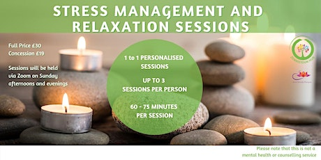 Stress Management and Relaxation 1 to 1 Sessions tickets