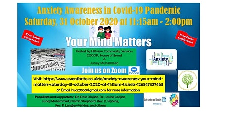 "Anxiety Awareness ""Your Mind Matters""  Saturday, 31 October 2020 at 11:15am tickets"