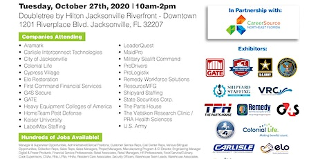 ALMOST 1,000 JOBS AVAILABLE AT THE OCT. 27TH JACKSONVILLE JOB FAIR tickets