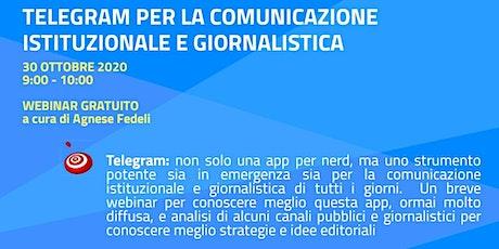 Telegram per la comunicazione istituzionale e giornalistica biglietti
