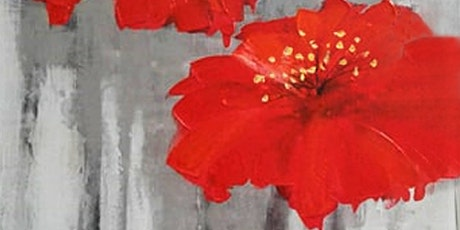 Textured Red Flowers Adults Painting Class tickets