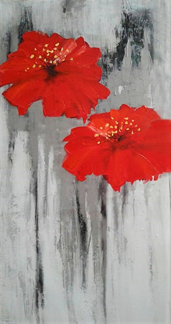 Textured Red Flowers Adults Painting Class image