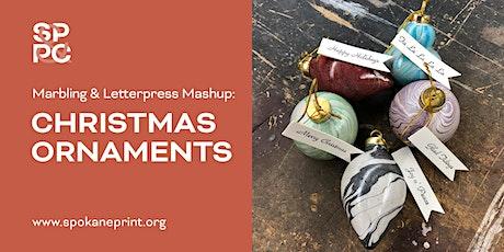 Marbling & Letterpress Mashup: Christmas Ornaments tickets