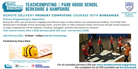 Primary Computing - Primary Programming & Algorithms - REMOTE DELIVERY tickets