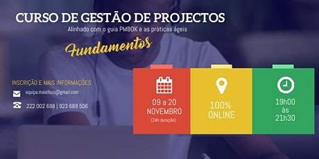 Curso de Fundamentos de Gestão de Projecto ingressos