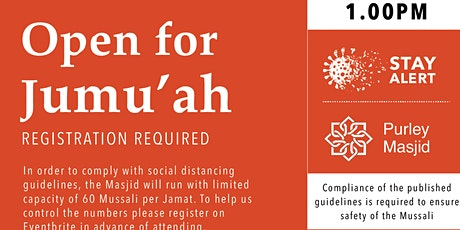 Purley Masjid Jumu'ah  - 3rd Salah - 1.00pm - 30-Oct-20 tickets