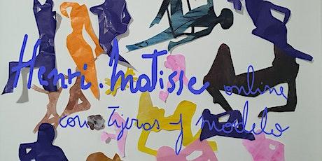 Henri Matisse ONLINE dibujando con tijeras y model entradas