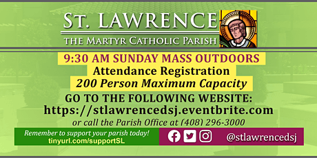 OUTDOORS: SUNDAY, November 1 @ 9:30 AM Mass Registration boletos
