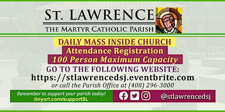 INDOORS: THURSDAY, November 5 @ 8:30 AM DAILY Mass Registration boletos