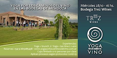 Yoga por los Caminos del Vino + tea time en Bodega TREZ WINES entradas