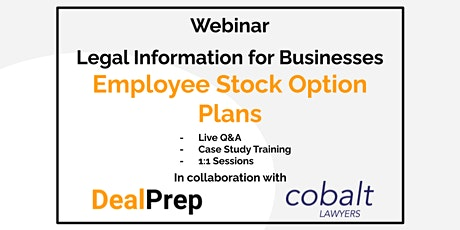 WEBINAR: Legal Information for Businesses - Option Plans (ESOPs) tickets
