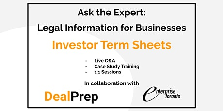 Ask the Expert: Legal Information for Businesses - Investor Term Sheets tickets